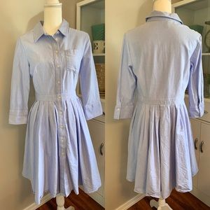 JNY blue button down pleated A-line shirt dress